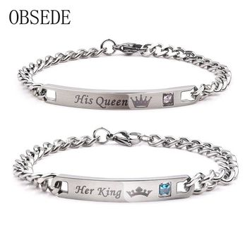 OBSEDE Fashion Her King His Queen Couple Bracelets Silver Color Stainless Steel Crown Crystal Bangles for Women Men Jewelry