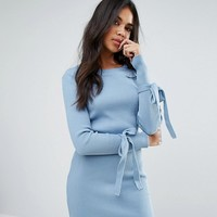 Boohoo Tie Cuff Ribbed Dress at asos.com