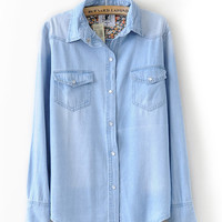 Light Blue Floral Lining Denim Shirt -SheIn(Sheinside)
