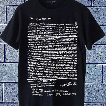 Hot Edition shirt on etsy Kurt Cobain Suicide Letter Nirvana available for t shirt mens and t shirt woman size S,M,L,XL,XXL