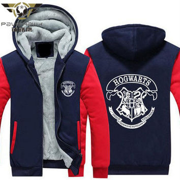 Dropshiping Harry Potter Gryffindor Hoodie Thick Cardigan Cosplay Winter Coats Jackets Hooded Zipper Men