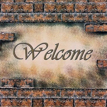 Park Avenue Collection Welcome Bricks Outdoor Rubber Entrance Mat 18 in. x 30 in.