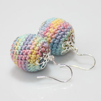 Pastel crochet earrings / sterling silver hooks / Crochet jewelry / Handmade / Always in Fashion / gift under 15