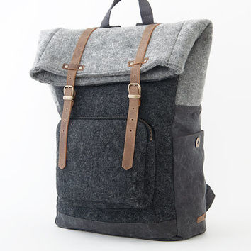 Laptop Backpack / Casual Daypacks / Wool Felt Backpack / Wool Black / CITYCARRY