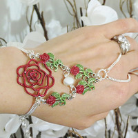 "Red Rose & Pearl 925 Silver ""Slave Bracelet"". Crafted with 925 Sterling silver chain and a Fresh Water Pearl. Fits wrists 6 to 8 inches."