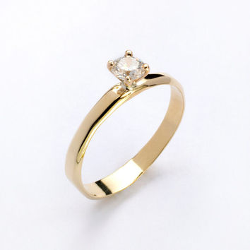 VALANTINES DAY SALE Engagement Ring, 14k gold and daimond Solitaire ring, gold and diamond ring.