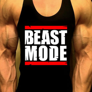 Beast Mode Mens Workout Tank Top. Fitness Tank. Racerback Tank. Muscle Tank. Mens Fitness. Gym Tank Top. Workout Shirt. Fitness Apparel