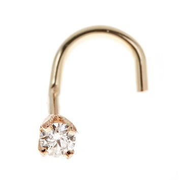 14K Gold Diamond Accent Nose Ring Curve Stud