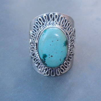 Large Ring, Unique Turquoise Ring, Tibetan Turquoise Ring, Blue Turquoise Gemstone Rings, Gift Ring, Sterling Silver Turquoise Ring Size 11
