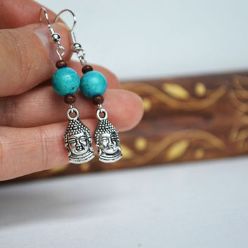 Buddha  Earrings Silver, Wood and Turquoise Jewelry, Zen Buddah Silver Charm Earrings, Love n Lavish
