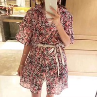 LV Louis Vuitton Fashion Print Strappy Mini Dress