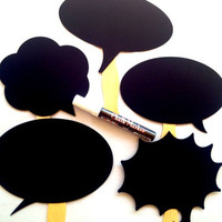 5  Speech Bubbles PLUS Marker-photo props-photo booth-wedding props- chalkboard props Weddings Decor