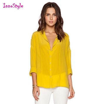CREYHY3 Long sleeve single breasted sheer shirts for women yellow shirts ladies blue button down shirts plus size chiffon formal blouses