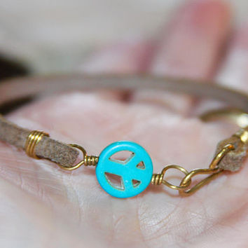 Peace Sign Bracelet, Charm Bracelet, Turquoise Bracelet, Leather Charm Bracelet, Birch Bark Design