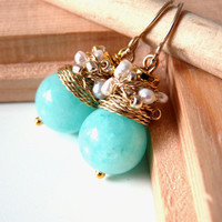 FREE shipping - NEW  Organic - lovely earrings with chalcedony color jade and white fresh water pearls