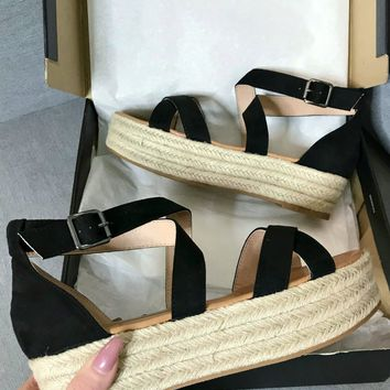 Right Time Black Suede Strappy Platform Espadrilles
