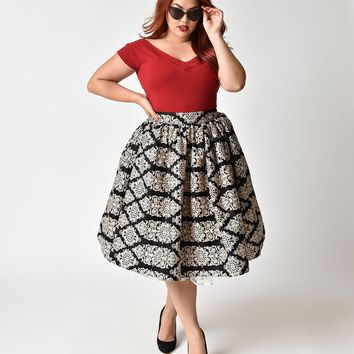 77760569ec4 Unique Vintage Plus Size 1950s Style Black   Tan Damask High Waist Swing  Skirt