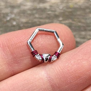 Hexagon Heart Hoop Daith Hoop Ring Rook Hoop Cartilage Helix