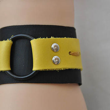 LEATHER yellow  Bracelet, Black and yellow wrist cuff, O ring barcelet, Gothic, punk metal rock bracelet, Fabric leather O ring wristband.