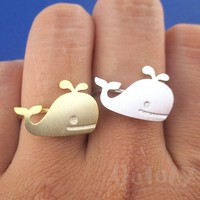 Cute Whale Silhouette Shaped Adjustable Sea Creatures Ring in Silver or Gold