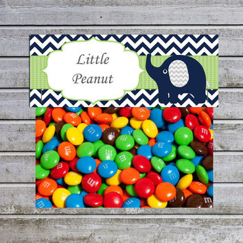 Treat Bag Toppers Candy Bag Toppers Favor Bags Toppers Printable Elephant Baby Shower Yellow Green (80a) - Little Peanut - Instant Download