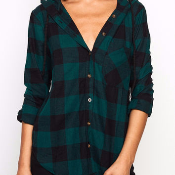 PLAID RELAXED FIT HOODED BUTTON-DOWN SHIRT