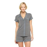 Women's Fluid Knit Top and Short Pajama Set Gray - Gilligan & O'Malley™