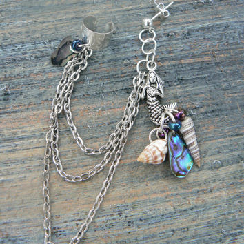 ONE abalone mermaid silver ear cuff  with chains mermaid siren abalone shells in boho gypsy hippie hipster  beach  resort and fantasy style