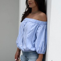 Salty Stripes Blue Off The Shoulder Top