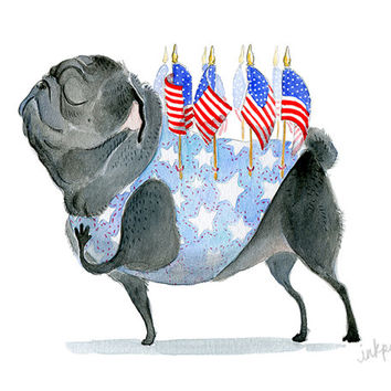 Patriotic Pug Art Print - Patriot Black Pug with American Flags - Proud to be an American Black Pug Art Illustration in Watercolor by InkPug
