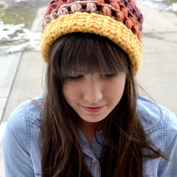 Colorful Crocheted Slouch Hat