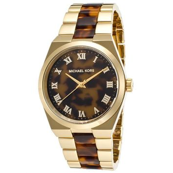 MICHAEL KORS TORTOISE GOLD TONE LADIES WATCH MK6151 - 2 YRS WARRANTY