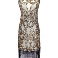 PrettyGuide Women 1920's Sequin Art Deco Hollow Paisley Tribe Cocktail Inspired Flapper Dress Great Gatsby Dress