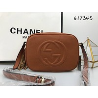Gucci Fashion Ladies Shopping Pure Color Tassel Leather Shoulder Bag Crossbody Satchel Brown I-MYJSY-BB