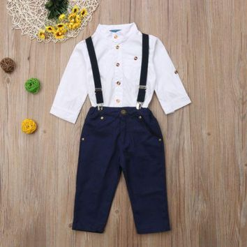 Toddler Kid Baby Boy Clothing Long Sleeve White Top Suspender Trouser Overall Outfits 2pcs Clothes Set Boys 1-5T