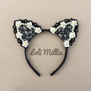 The Afterlight - Cat Ears Headband - Kawaii Floral Ears Nekomimi Sweet Lolita Gyaru Rave