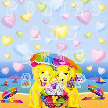 Vintage Lisa Frank Stationery Sheet Casey and Candy Puppies Design