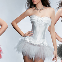 Strapless Lace Corset With Tutu Skirt Set