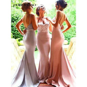 Honey Qiao Bridesmaid Dresses Pink Long Satin Mermaid 2017 With Spaghetti Straps Lace Applique Floor Length Sexy Prom Gowns