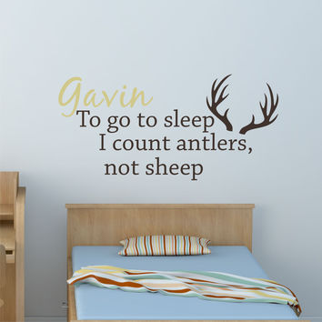 Hunting Nursery Decal - by Decor Designs Decals, Deer Antler Decal Vinyl Lettering Count Sheep Wall Decor Wall Sticker Outdoor Nursery Woodsy Nursery Deer Decor B12