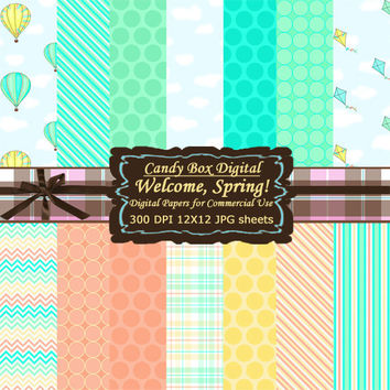 Spring Paper, Spring Scrapbook, spring digital, spring scrapbook paper, summer paper, summer scrapbook, coral and mint - Commercial Use OK