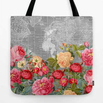 World Map floral Tote Bag, Colorful bold, retro travel theme large tote, pink, red, roses,  gift for mom, beach bag, travel bag