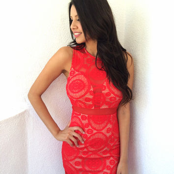 Be Mine Lace Dress- Red