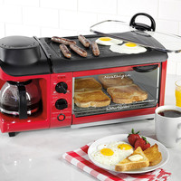 Retro Blue or Red Coffee Maker and Toaster Oven and NonStick Griddle