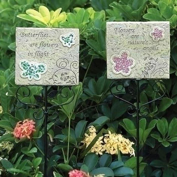 4 Garden Stakes - Butterfly And Flower