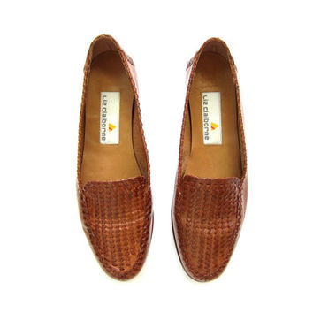 Brown Leather Huaraches 90s Woven Leather Sandals Womens Slip On Loafer Flats 1990s Preppy Boho Summer Shoes Resort Wear Size 7.5