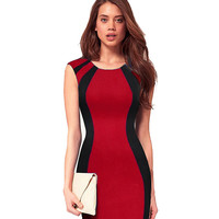 Summer Women's Contract ColorBlock Sleeveless Back Zipper Bodycon Dress Business Casual Wear to Work Sheath Pencil Dresses E254