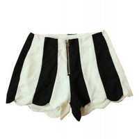 Wavy Edge Color Block Stripe High Waist Shorts