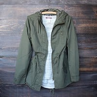 Womens hooded utility parka jacket with drawstring waist - olive green