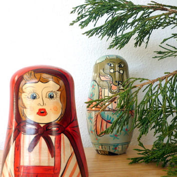 Vintage Authentic Models Nesting Dolls Red Riding Hood Wood Nesting Dolls Russian Matryoshka Stacking Dolls Matreshka Dolls Fairy Tale